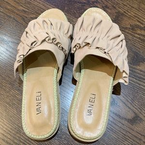 Vaneli tan sandals with ruffle